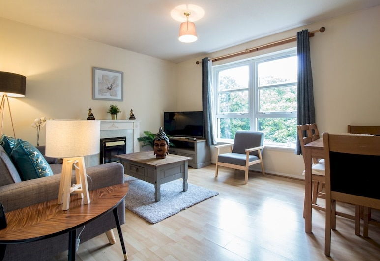 Bright & Tranquil Apartment Close to City Centre, Edinburgh, Appartement (2 Bedrooms), Woonkamer