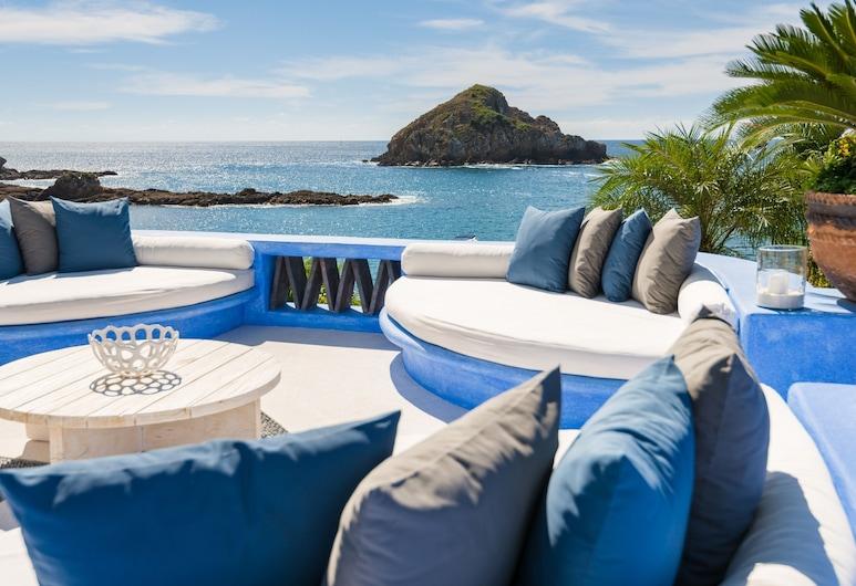 Casa Azul & Casa Carioca in Careyes, Costa Careyes, Panoramic-Haus, Mehrere Betten, Meerblick (Casa Azul 5 Rooms), Terrasse/Patio