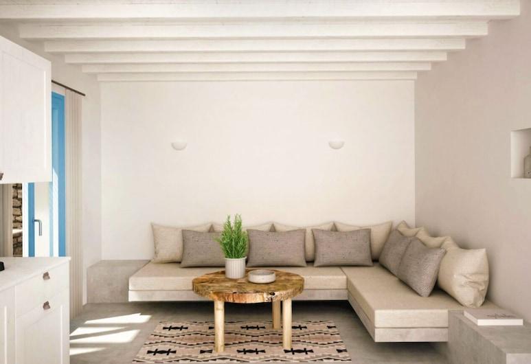 Serifosblue, เซริโฟส, ดีลักซ์อพาร์ทเมนท์, ห้องนั่งเล่น