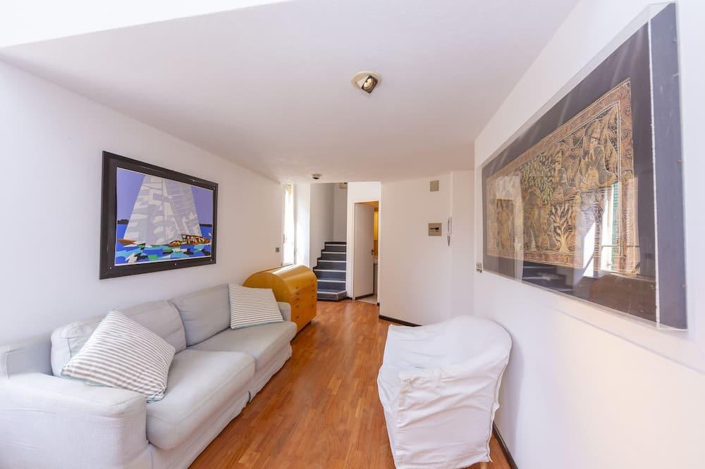 Apartament rodzinny, Łóżko podwójne i sofa, widok na morze (La Casa Al Molo) - Salon