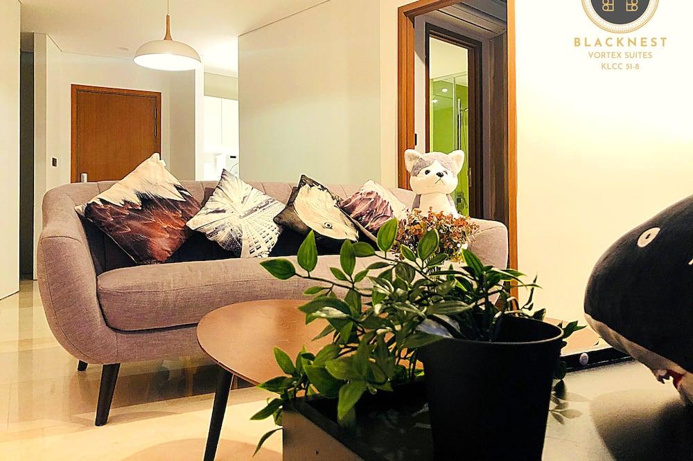 Panoramski apartman, 2 spavaće sobe, pogled na grad - Dnevni boravak
