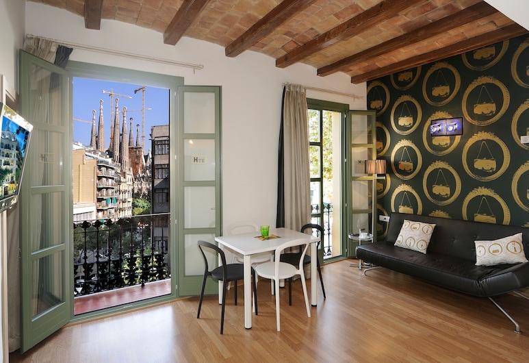 Apartments Hostemplo Suites, Barcelona, Apartamento superior, 1 quarto, Sacada, Sala