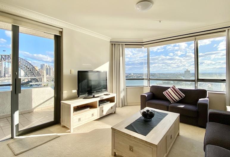 Milson Serviced Apartments, Milsons Point, Superior Διαμέρισμα, 1 Υπνοδωμάτιο, Μπαλκόνι, Θέα στο Λιμάνι, Καθιστικό