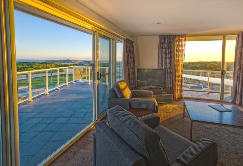 Lady Bay Resort, Warrnambool, Lúxusíbúð - 3 svefnherbergi - nuddbaðker - vísar að sjó, Stofa