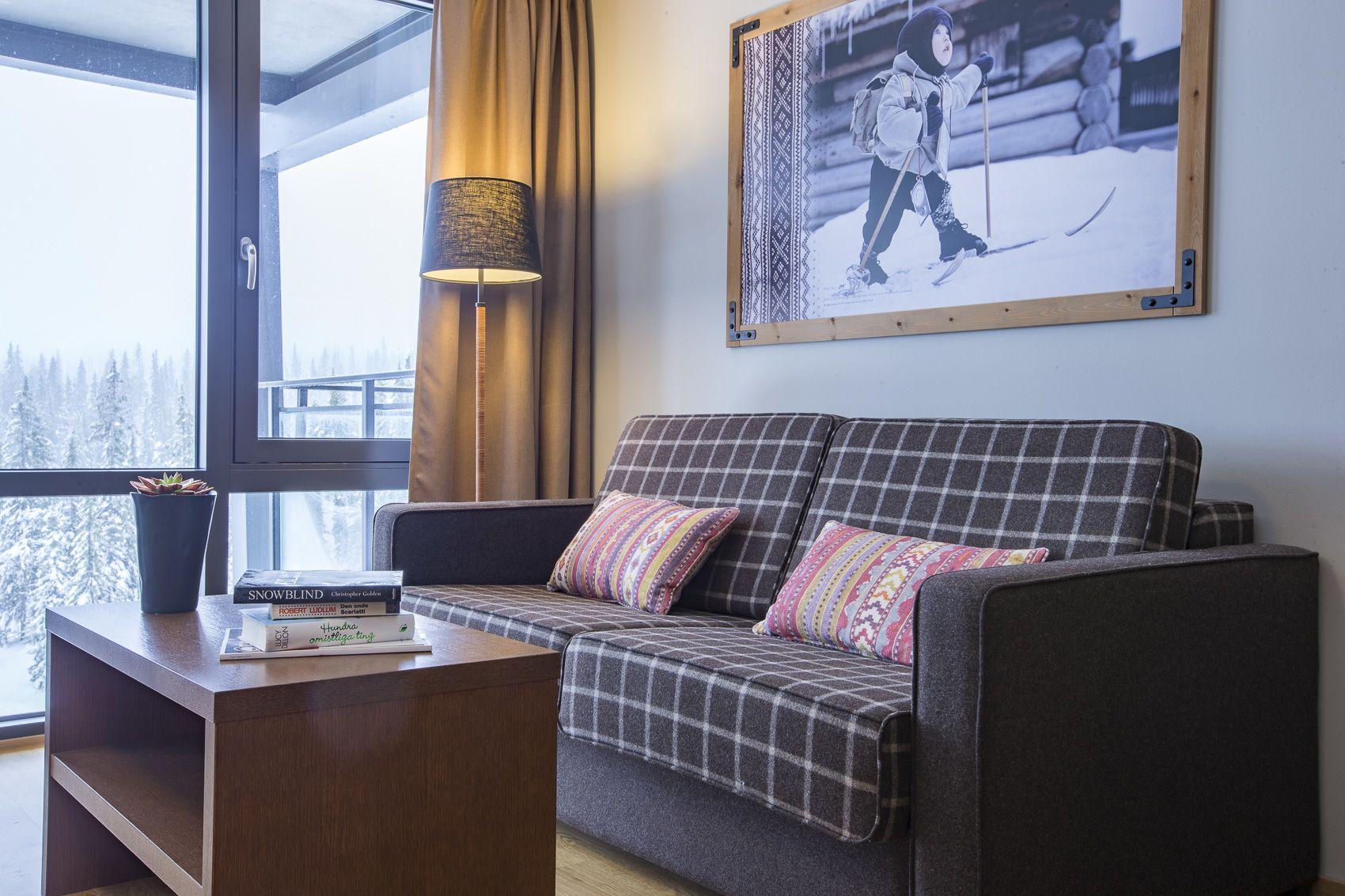 Radisson Blu Mountain Resort & Residences, Trysil, Familierom, utsikt mot fjell, Oppholdsområde