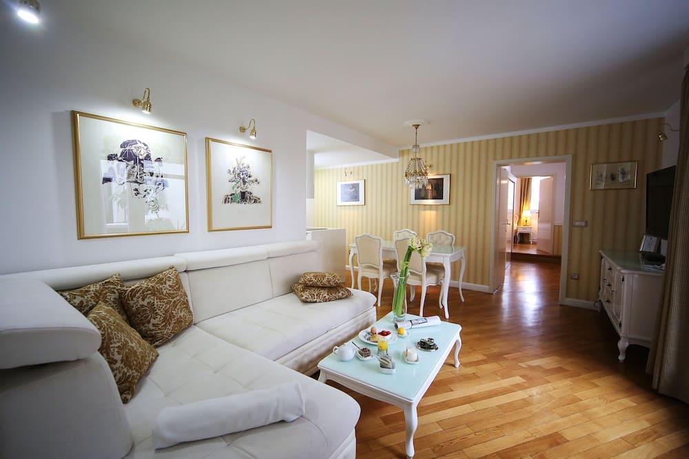 Superior suite, 2 slaapkamers, uitzicht op bergen - Woonruimte