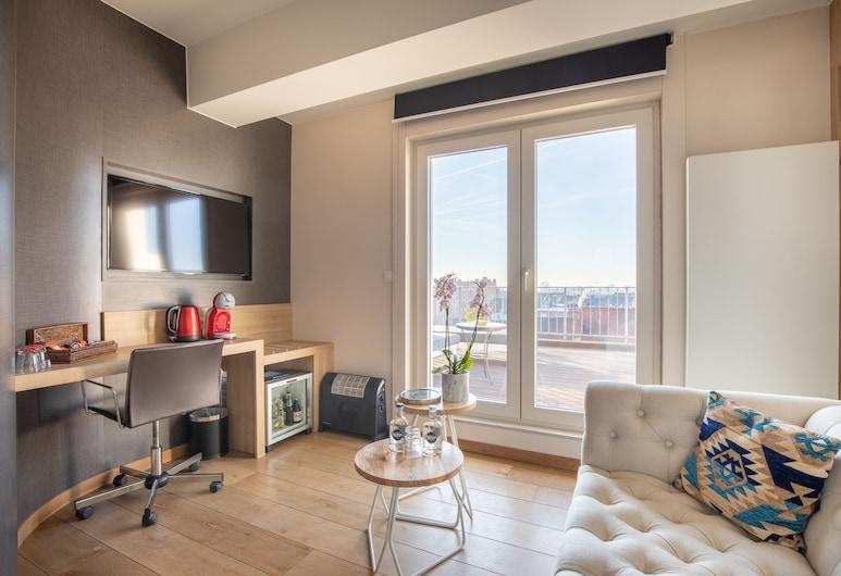 Carlton Hotel, Ghent, Deluxe Tek Büyük Yataklı Oda, Teras, Şehir Manzaralı, Oda