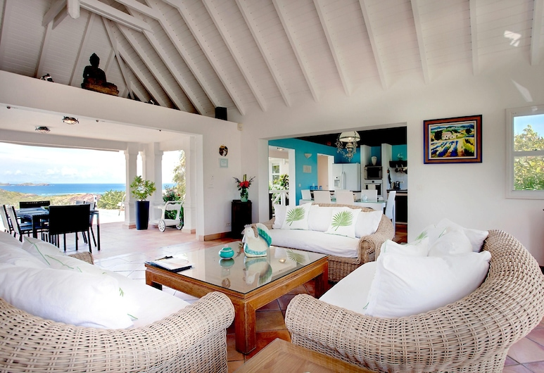 Villa With 3 Bedrooms in st Barthelemy, With Wonderful sea View, Private Pool, Furnished Garden - 800 m From the Beach, St. Barthelemy, Sala de estar
