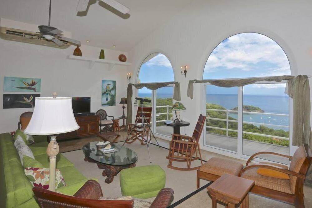 Casa de lujo, 3 habitaciones, piscina privada, vistas al mar - Sala de estar