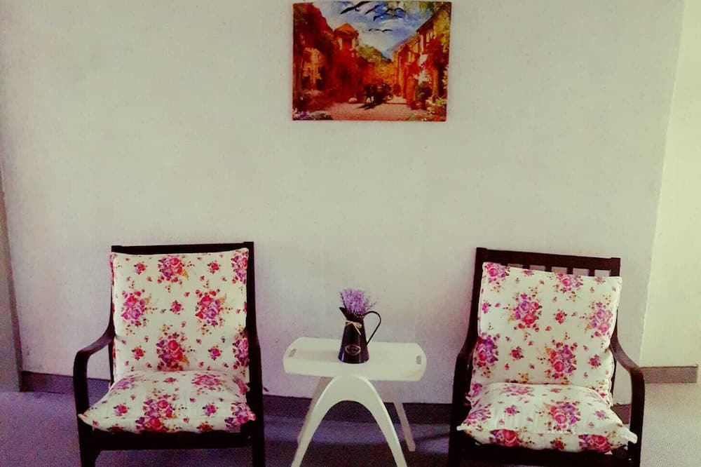 Standartinio tipo kambarys (1 dvigulė / 2 viengulės lovos), bendras vonios kambarys - Svetainės zona