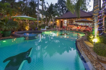 Picture of Relaxing Palm Pool Villa Tropical Illuminated Garden Swimming Pool in Bang Lamung