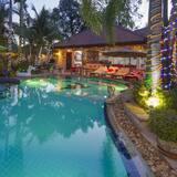 Relaxing Palm Pool Villa Tropical Illuminated Garden Swimming Pool