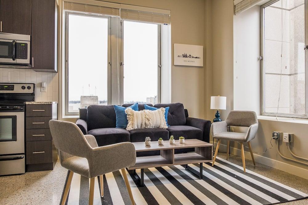 Business-lejlighed - 2 soveværelser - køkken - byudsigt - Opholdsområde