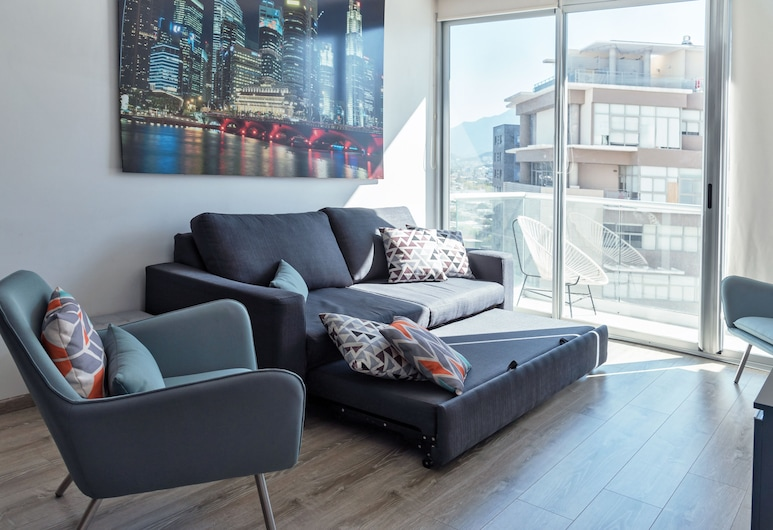 Bright, comfy w/Terrace apt. 1KSB, 1BD, 1SofaB, 2BTH by Mty. Living, Monterrey, Apartment, 2 Bedrooms, Living Area