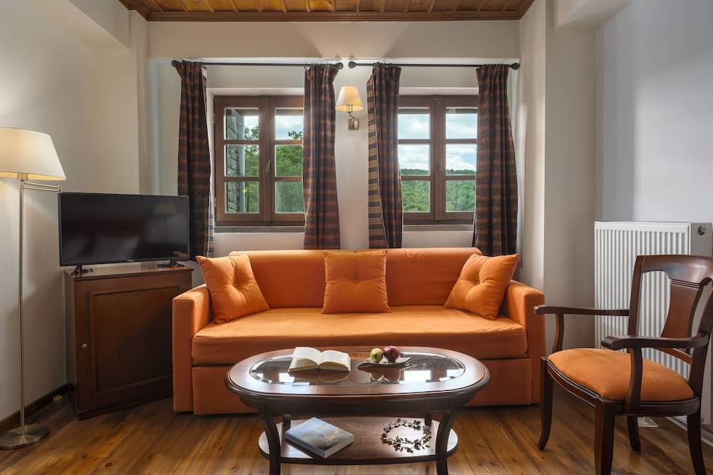 Habitación superior con 1 cama doble o 2 individuales, vista a la montaña - Sala de estar