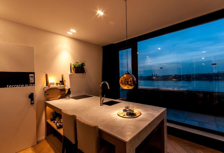 Kaai 11, Antwerpen, Svit Panoramic - 1 sovrum - terrass, Kök på rummet