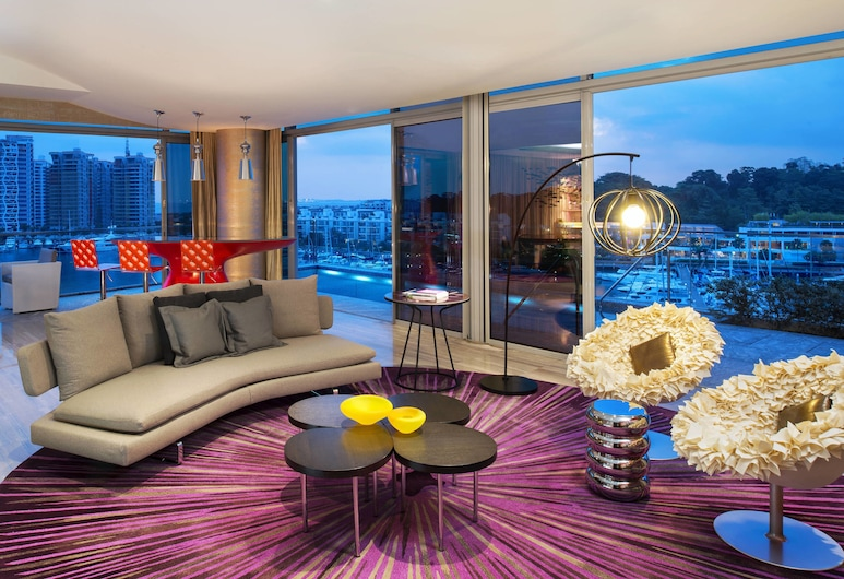 新加坡 - 聖淘沙灣 W 酒店, 新加坡, Wow Suite, 套房, 1 間臥室, 非吸煙房, 泳池景, 客廳