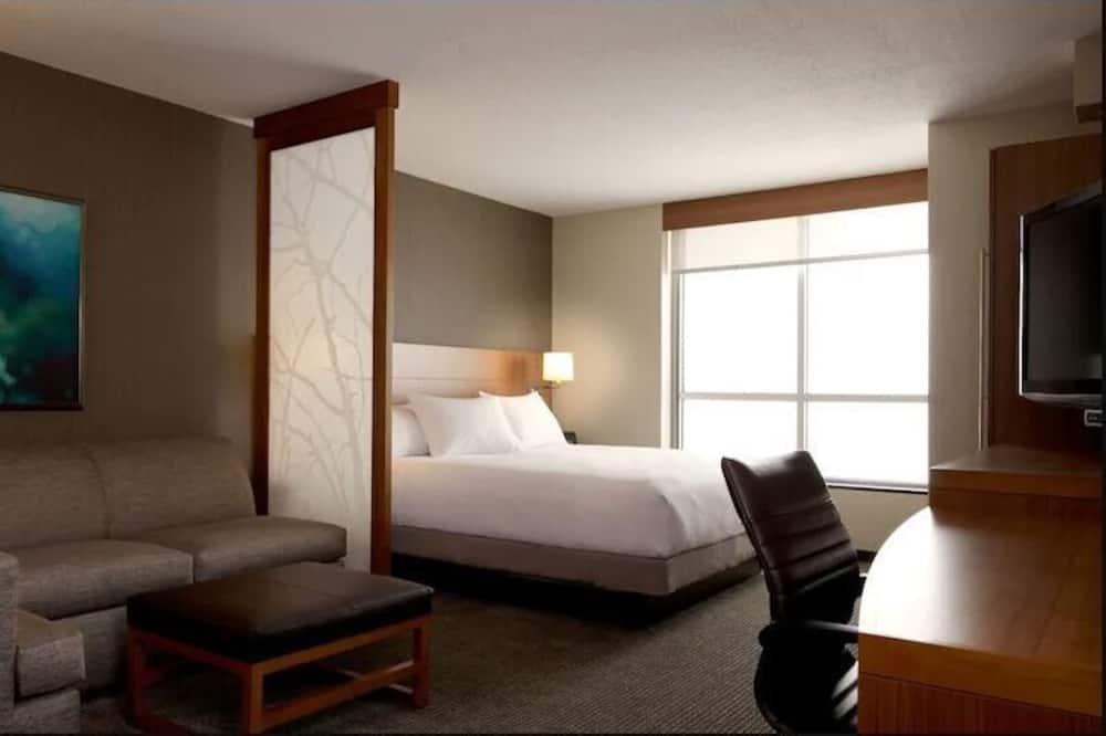 غرفة - سرير ملكي مع أريكة سرير - تجهيزات لذوي الاحتياجات الخاصة (Roll-In Shower) - غرفة نزلاء