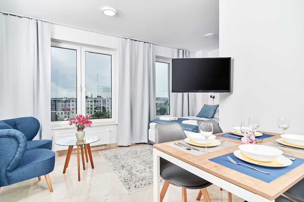 Apartamentai, 1 miegamasis, balkonas - Svetainės zona