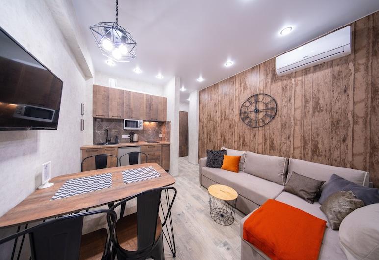 More Apartments na Estonskoy 37 , كراسنايا بوليانا, شقة بتصميم مميز, منطقة المعيشة