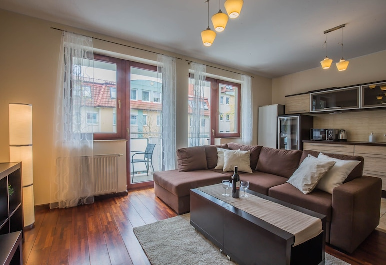 Apartments Zatoka Gorny Sopot by Renters, Sopot, Apartemen, 1 kamar tidur, balkon, Ruang Keluarga