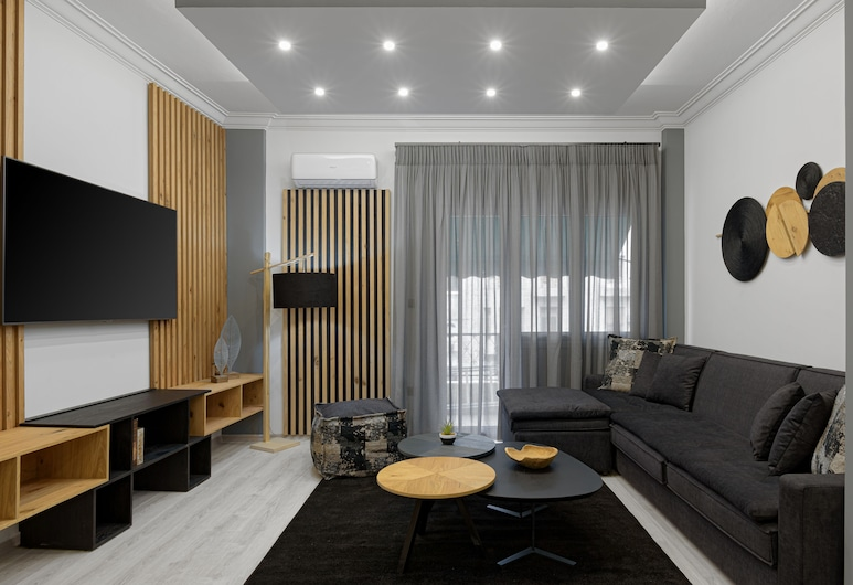 Acropolis Deluxe Apartment, Atėnai, Liukso klasės apartamentai, 2 miegamieji, vaizdas į miestą, Svetainė