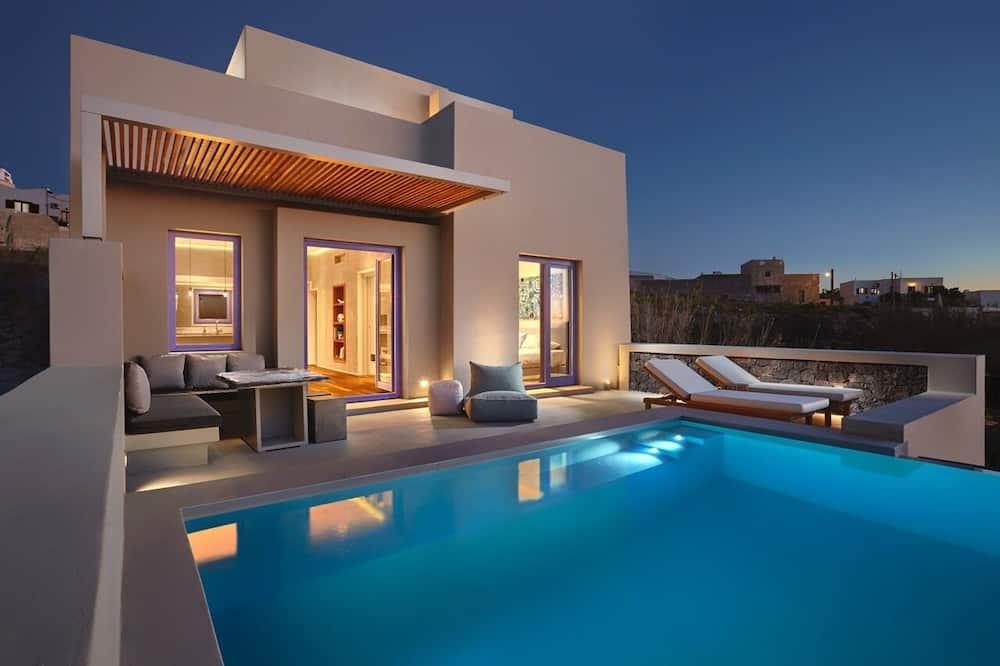 Deluxe One-bedroom Villa with Private Pool and Sea View, Pyrgos Village - Alberca privada