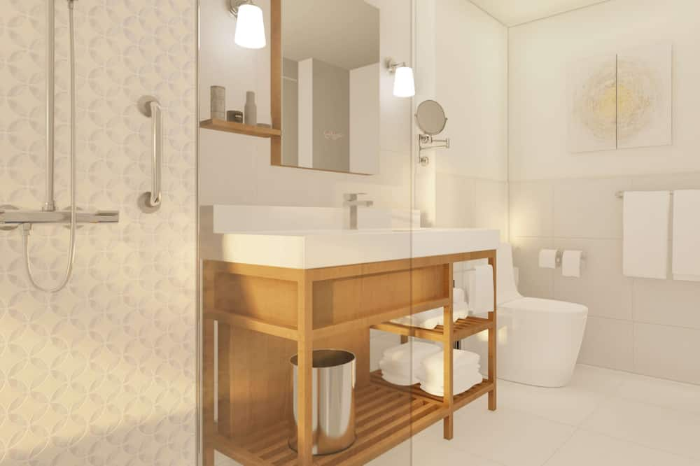 Номер, 2 двуспальные кровати «Квин-сайз», вид на сад - Ванная комната
