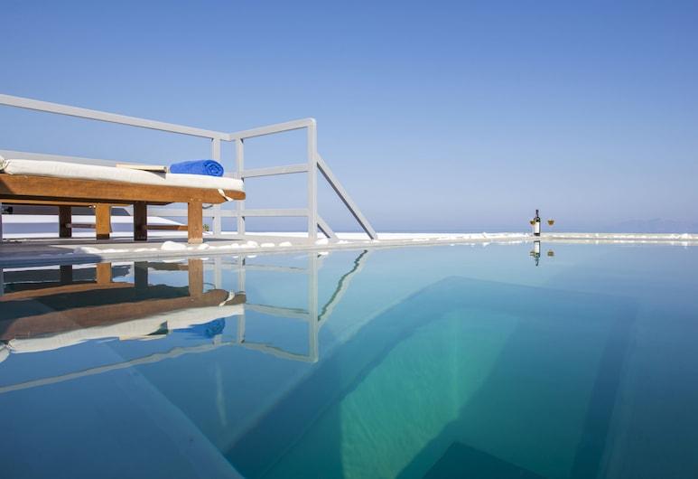 Blue Waves Hotel, סנטוריני, סוויטה, בריכה פרטית, נוף לאגם
