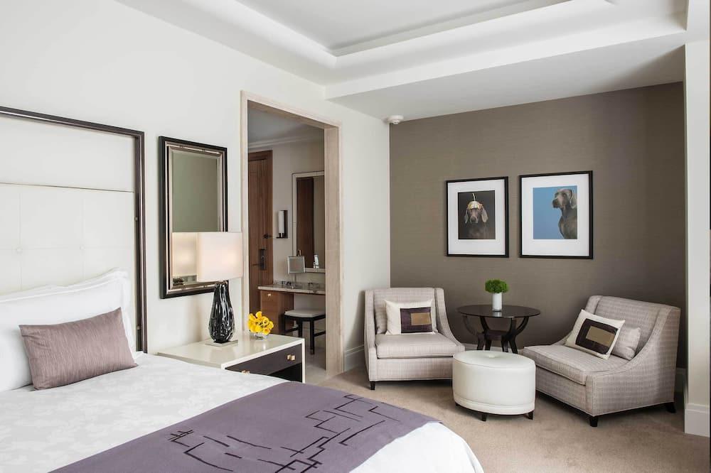 Liukso klasės kambarys, 1 labai didelė dvigulė lova, vaizdas į upę (Premier) - Svetainės zona