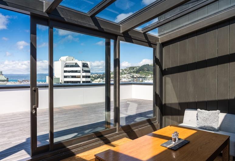 Boulcott Suites, Wellington, Appartamento, 3 camere da letto, balcone, vista porto, Area soggiorno