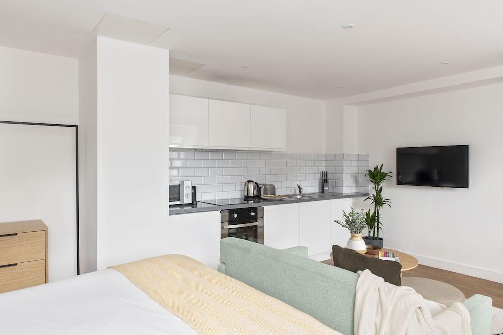 Estudio estándar, 1 cama King size, cocina, vista a la ciudad - Sala de estar