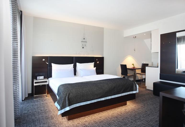 Schiller5 Hotel, München, Stúdíóíbúð - 1 meðalstórt tvíbreitt rúm - svalir - borgarsýn, Herbergi