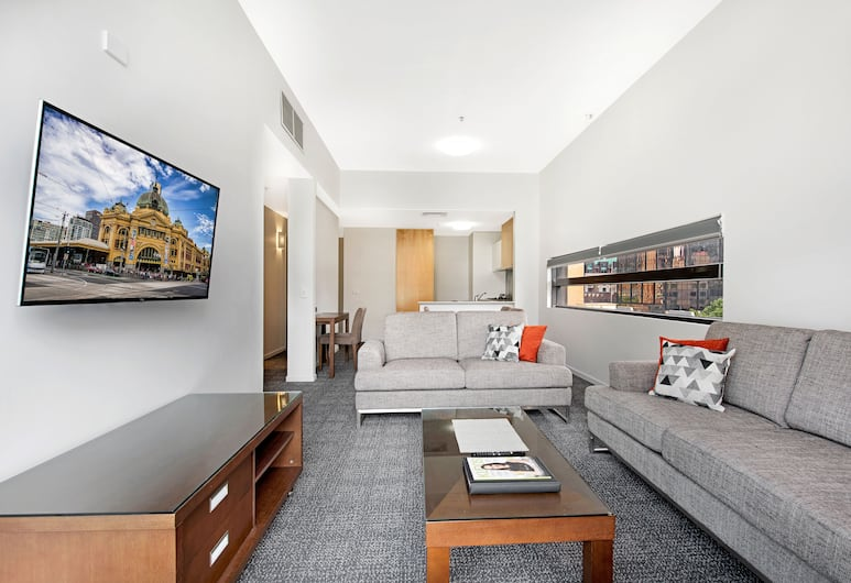 Quest on Bourke, Melbourne, Executive Two Bedroom Apartment, Living Area
