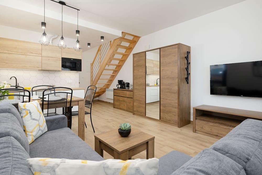 Apartman, 2 spavaće sobe, terasa, uz plažu - Dnevna soba