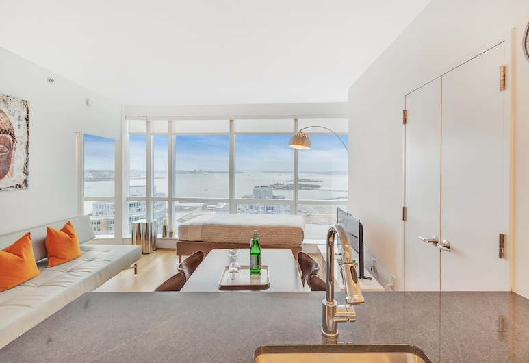 Dharma Home Suites JC at Paulus Hook, Jersey City, Apartment, 1 Schlafzimmer, Stadtblick, Wohnzimmer