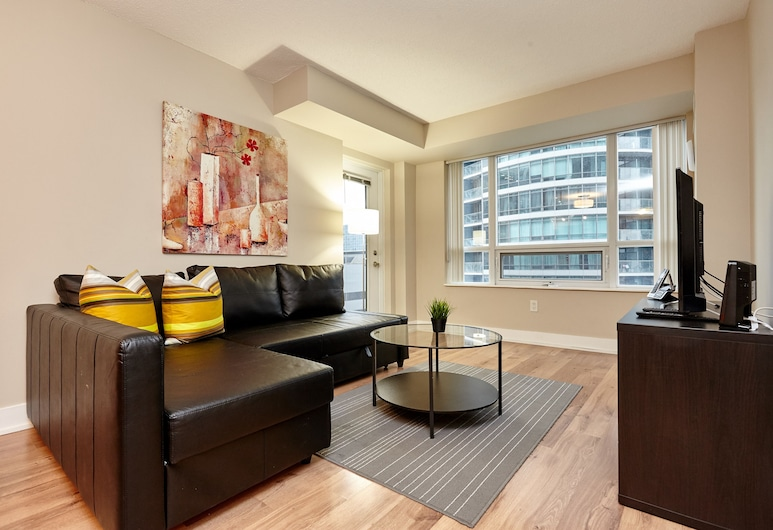 Atlas Suites Furnished Apartments- Wellington, Toronto, Premier Apartment, 2 Bedrooms, Living Area