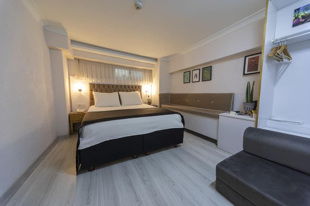 Ekonomiskās klases divvietīgs numurs ar divguļamo gultu, 1 divguļamā karalienes gulta, bez logiem - Viesu numurs