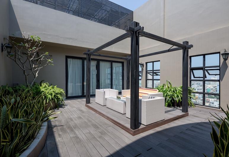 Sanouva Danang Hotel, Da Nang, Panoramic Penthouse, 2 Bedrooms, Kitchen, City View, Living Area