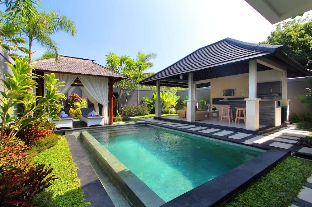 Design-Villa, 2Schlafzimmer, eigener Pool, Poolblick - Ausblick vom Zimmer