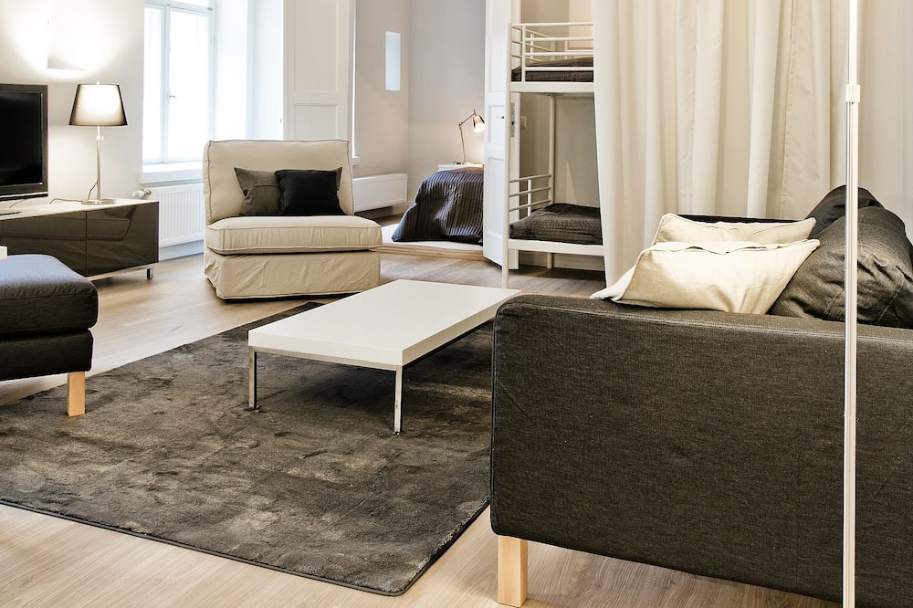 Apartamentai, 2 miegamieji (no reception, keycode access) - Svetainės zona